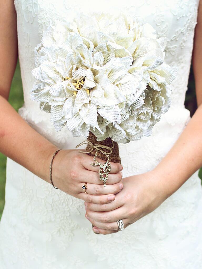 Unique wedding bouquet idea with burlap faux flowers