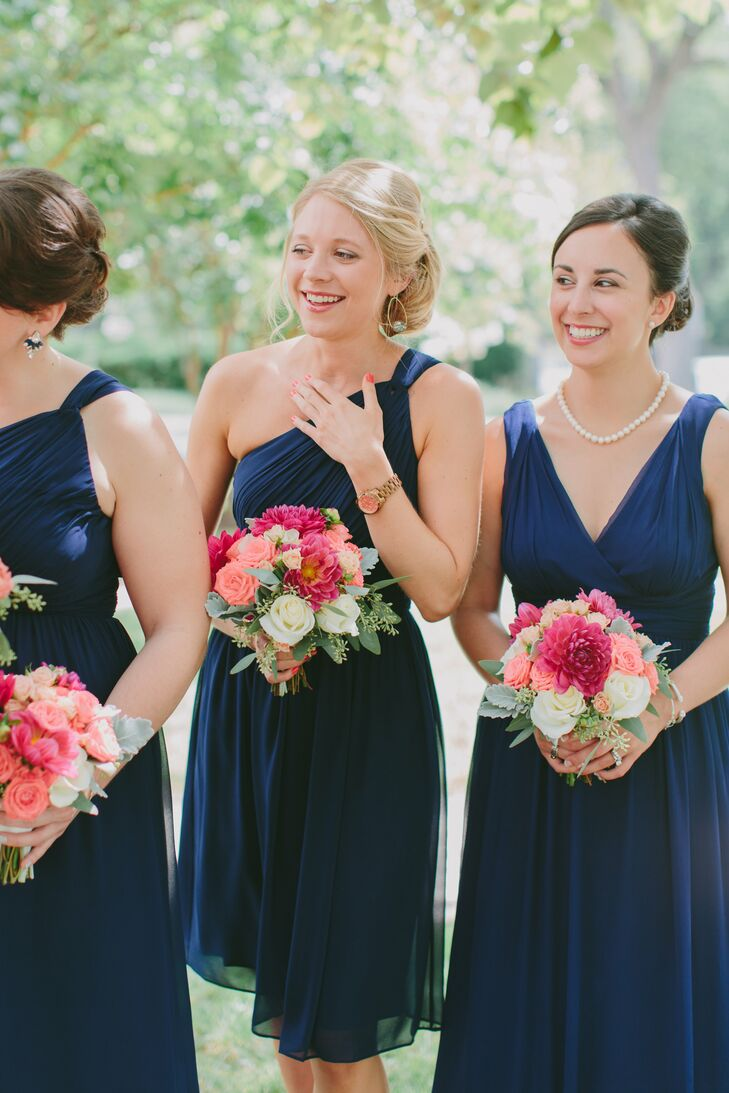 Bridesmaids wore navy Donna Morgan styles from Nordstrom.