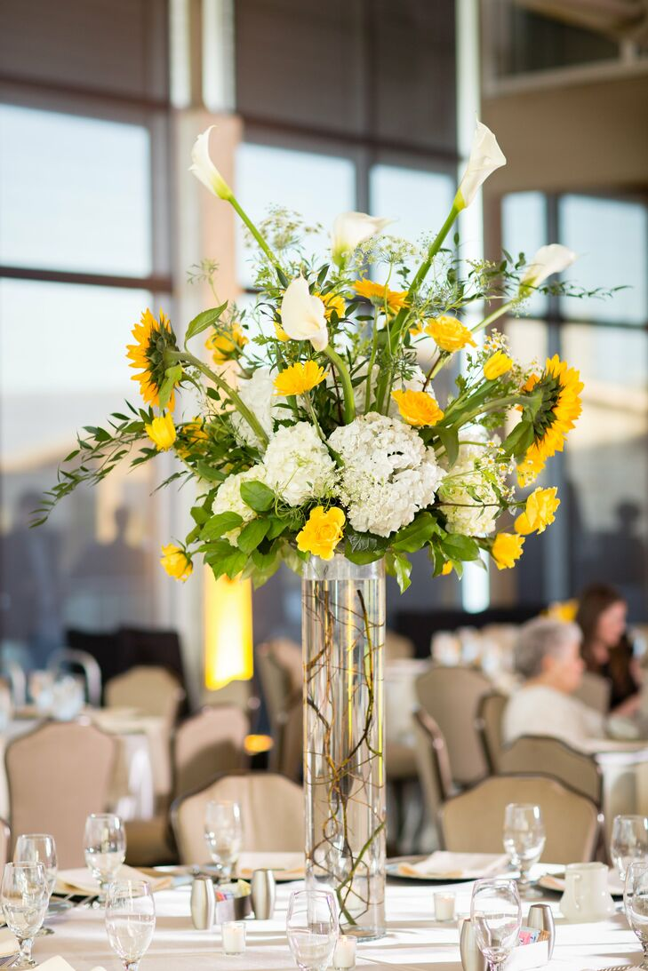 Tall White And Yellow Centerpieces