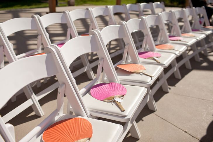 DIY Pink and Orange Ceremony Fans