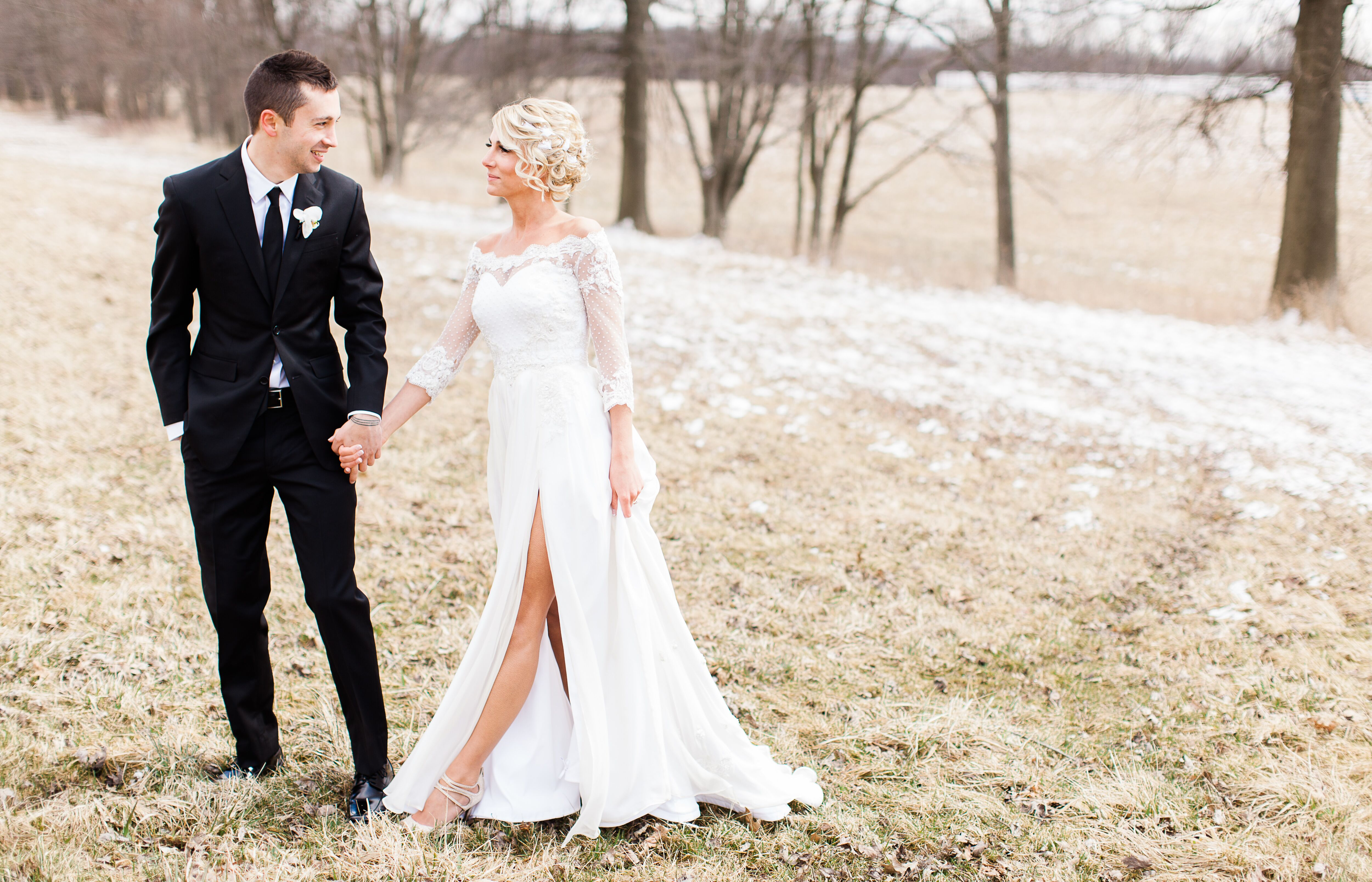 White Wedding Dress With High Slit