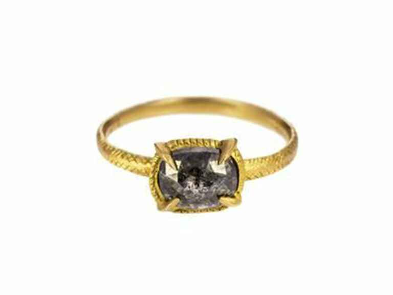 Rusty Thought grey rustic diamond solitaire ring in 18k yellow gold