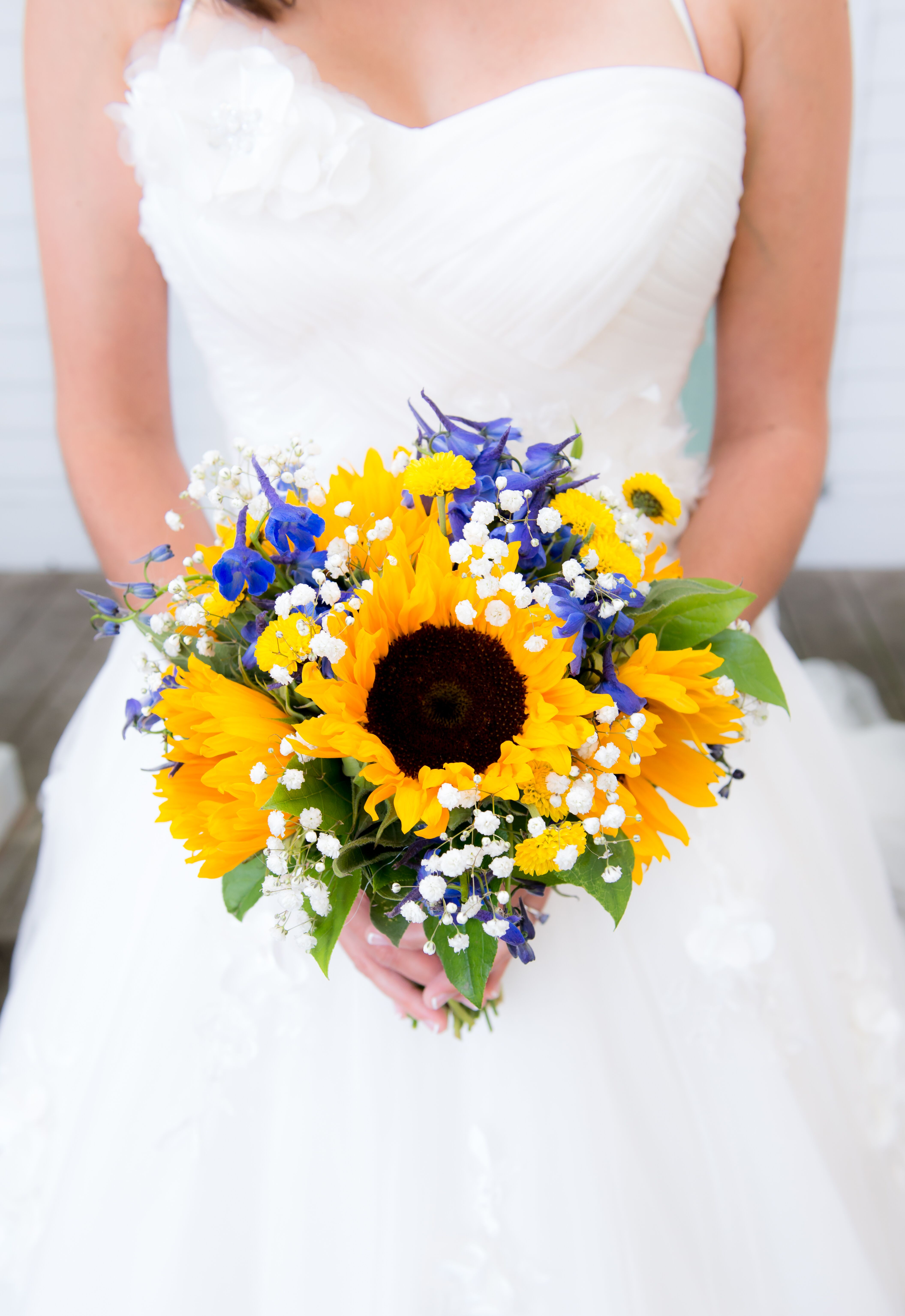 Sunflower Bridal Bouquet With Accents Of Royal Blue
