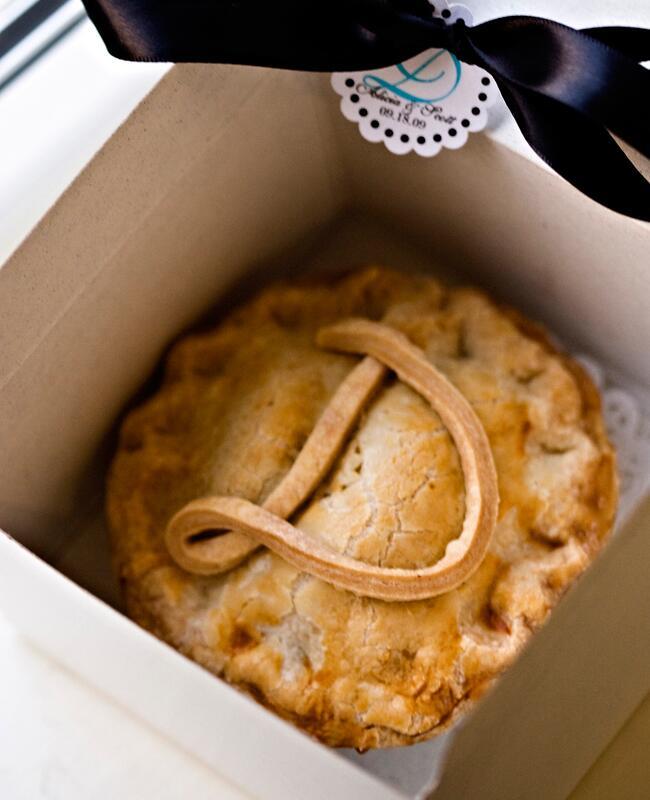 A monogrammed wedding pie