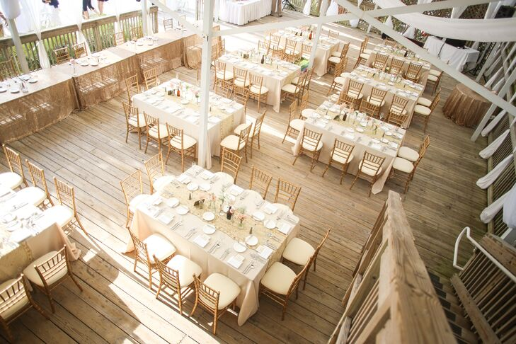 The Decorated Their Reception Wr Neutral Linens And Pink Fl Centerpieces In Simple Clear Gl