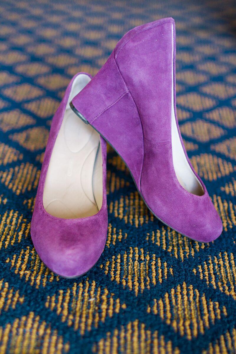 purple wedge wedding shoes