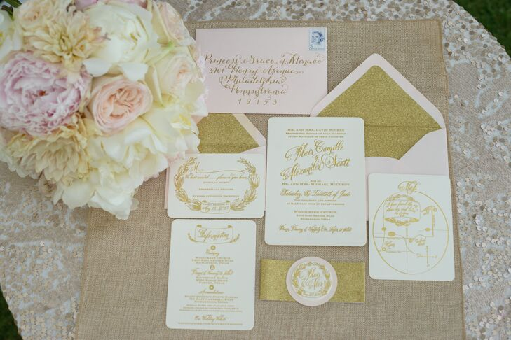 Blush And Ivory Wedding Invitations: Blush And Ivory Invitations With Gold Calligraphy