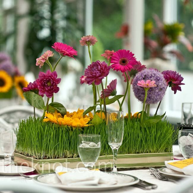 Wedding Flower Centerpieces Ideas: Wheatgrass And Floral Centerpieces