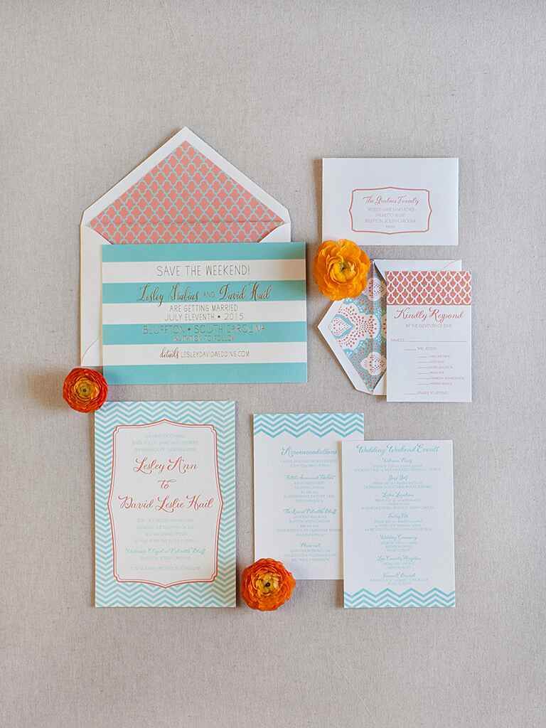 Wedding invitations and save-the-date cards with a turquoise and orange color scheme