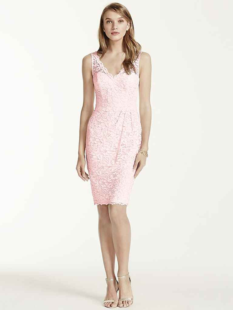 David's Bridal short tank lace dress with V-neckline in Petal