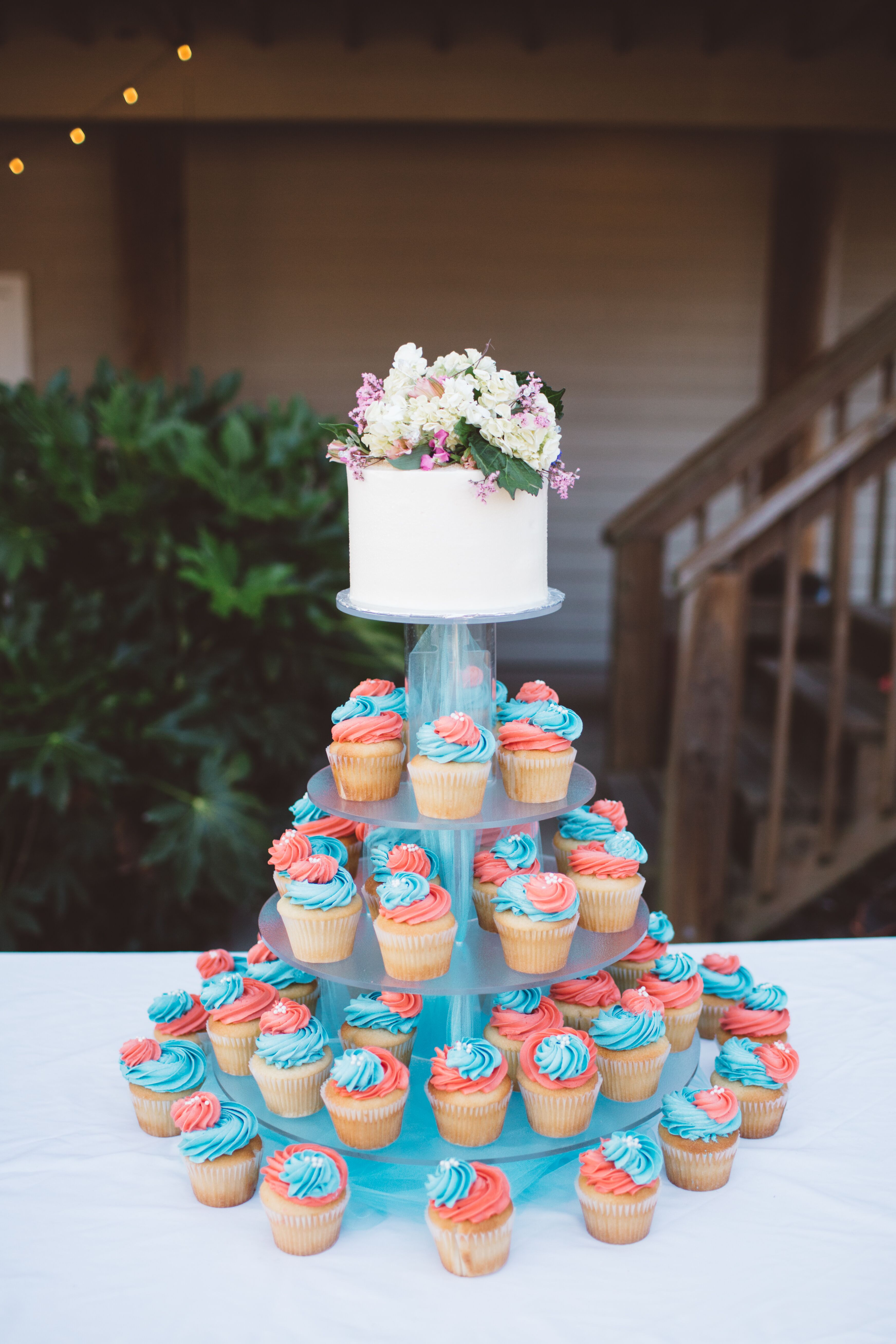 Fun Coral and Turquoise Cupcake Tiers