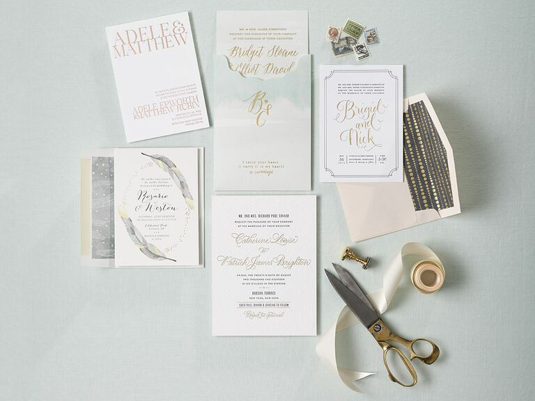 white and gold wedding invitation - Make Wedding Invitations