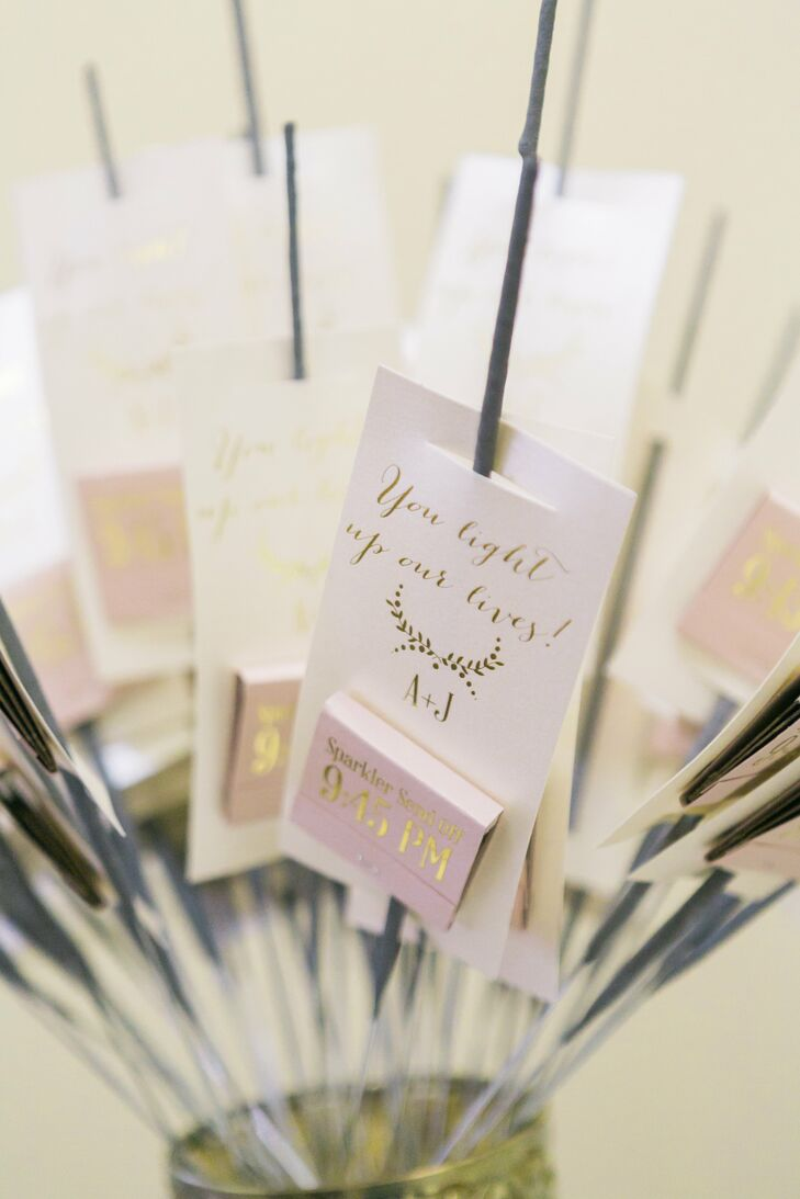 "Friends and family were given sparkler kits for Andrea and Jay's grand exit. Custom matchboxes read ""sparkler sendoff,"" along with the time, 9:45 p.m., and the phrase ""You light our lives."""