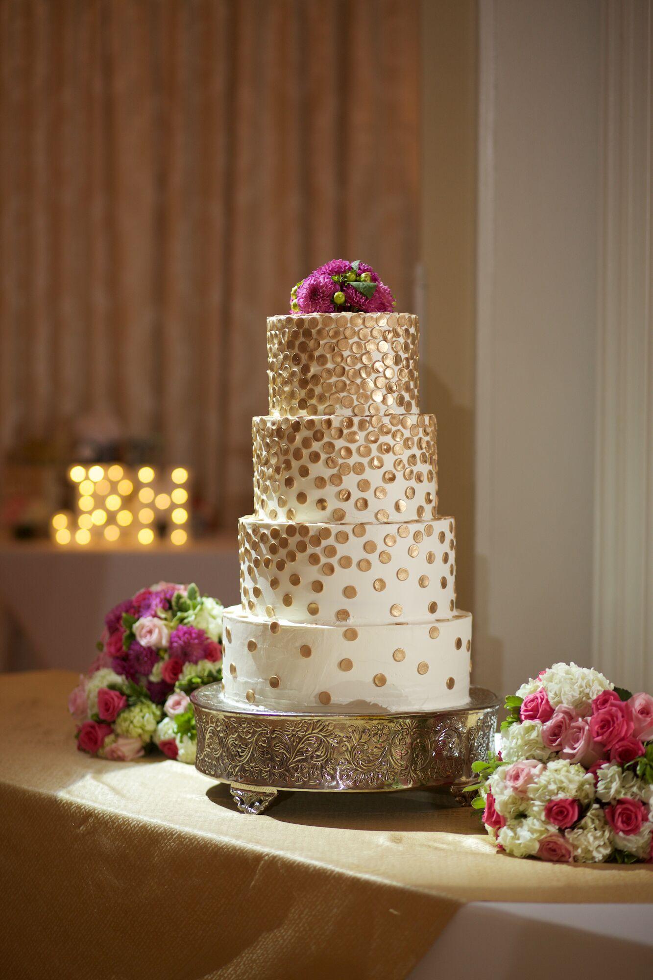 Gold Fondant Confetti Wedding Cake