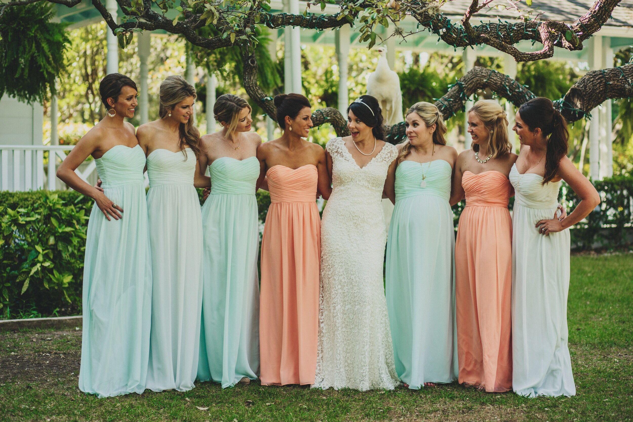 Peach and mint chiffon bridesmaids dresses for Mint bridesmaid dresses wedding