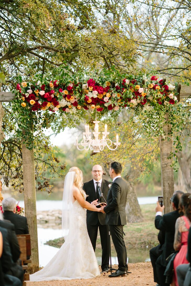 Wood Ceremony Arch with Chandelier