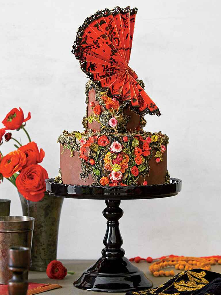 Two-tier Maggie Austin chocolate wedding cake