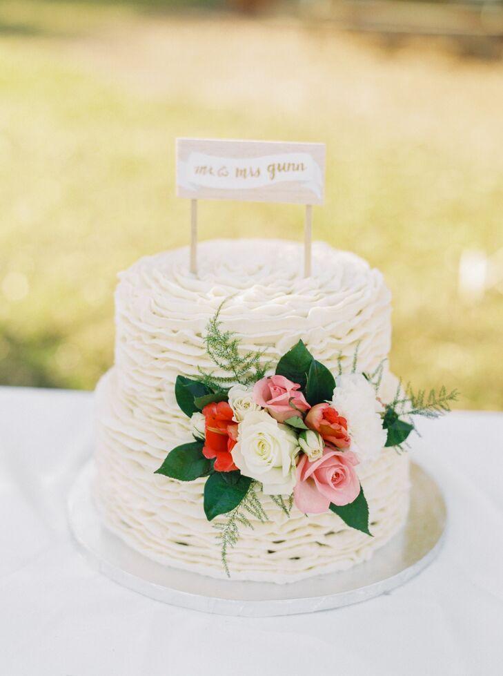 Two Tier Ruffled Fondant Cake