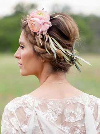 Flower crown with eucalyptus leaves and pink roses
