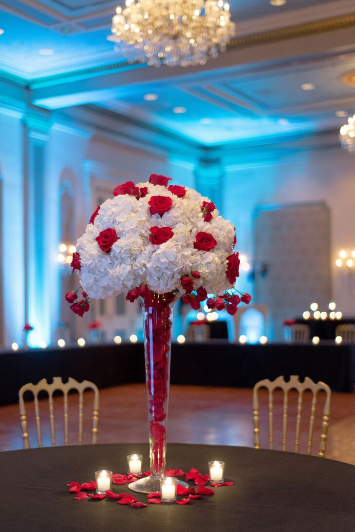 Red rose and white hydrangea centerpiece