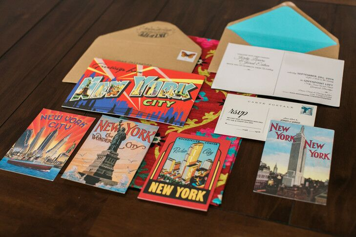 New York City themed wedding invitation suite