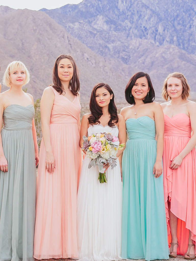 These mismatched bridesmaid dresses are the hottest trend pastel hued mismatched bridesmaid dresses ombrellifo Gallery
