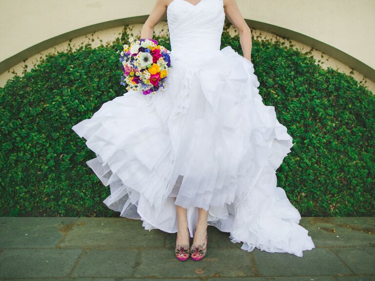 bride wearing ball gown and