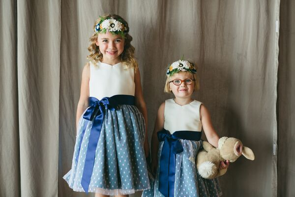 Flower Girls in Blue Polka-Dot Flower Dresses and Faux Floral Headbands