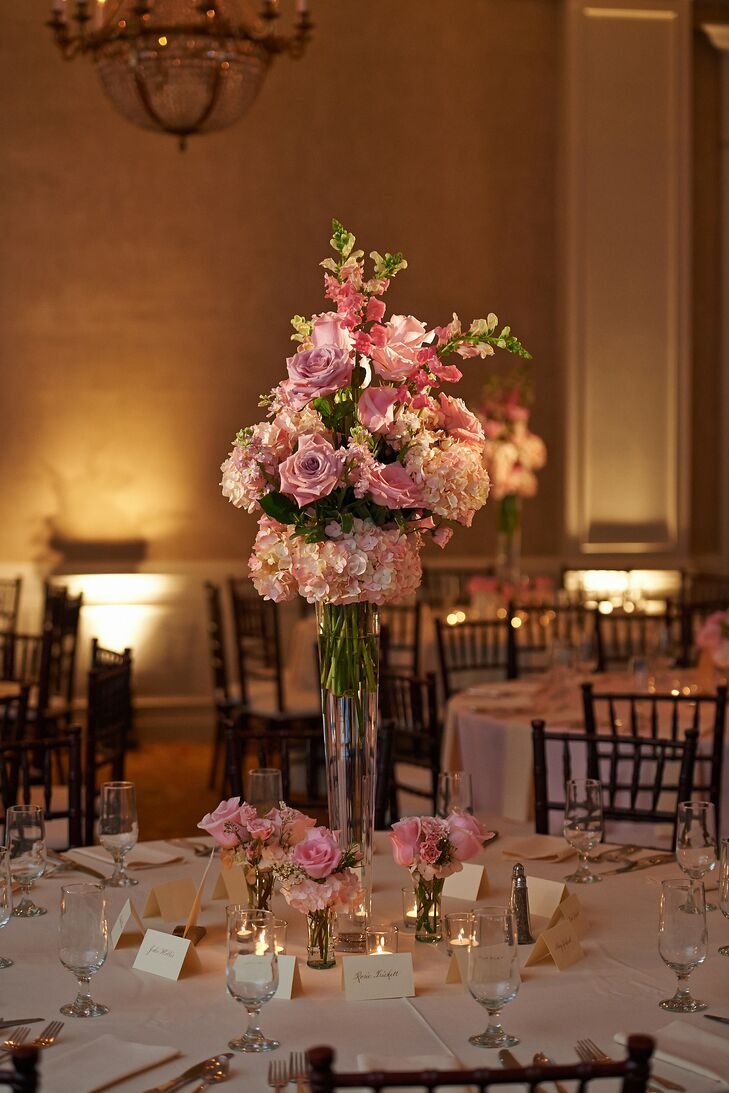 Tall Romantic Pink Floral Centerpiece
