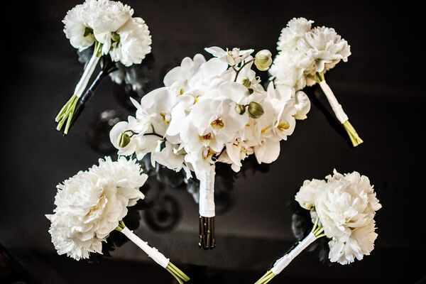 White Orchid and Peony Bouquets