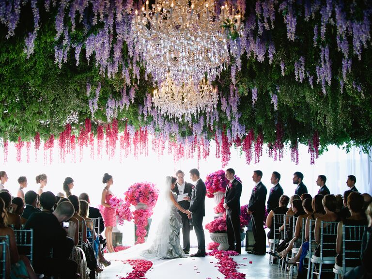 Hanging flowers at wedding ceremony