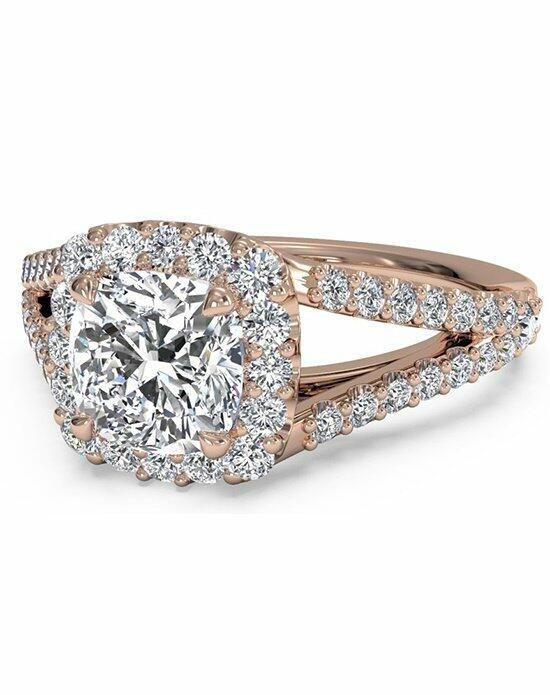 Ritani Cushion Halo Diamond 'V' Band Engagement Ring in 18kt Rose Gold (0.50 CTW) Engagement Ring photo