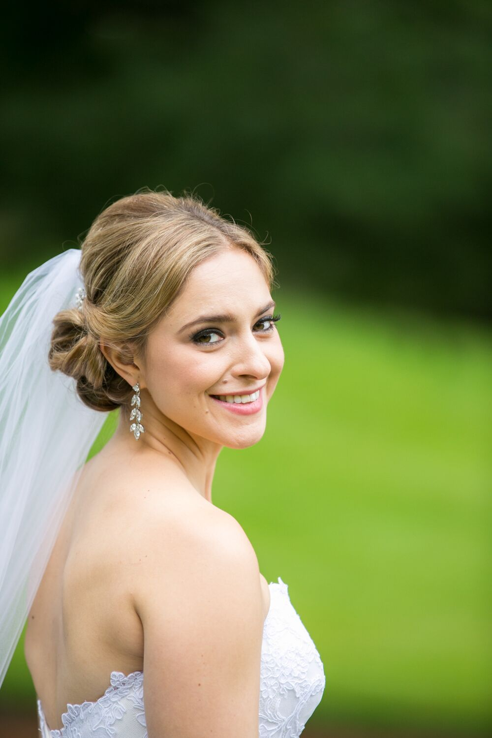 Classic Low Bun Updo With Veil