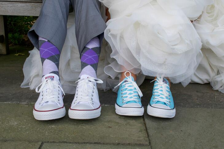 Bride and groom in sneakers