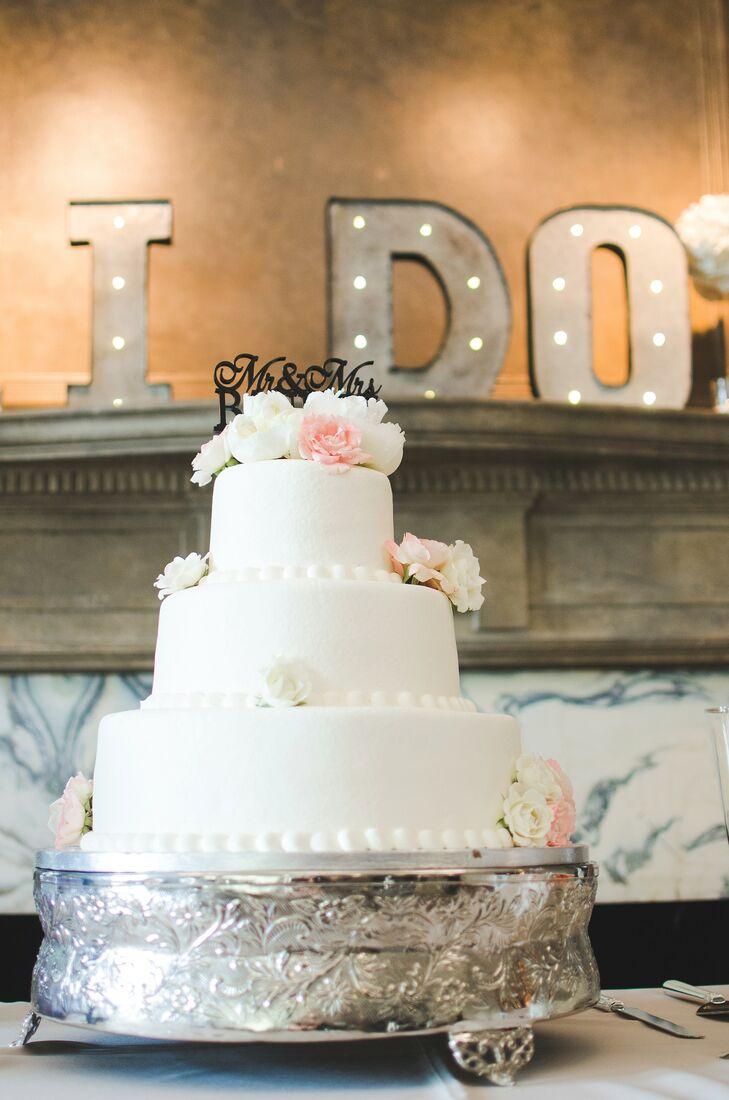 classic white three tier wedding cake in tulsa oklahoma. Black Bedroom Furniture Sets. Home Design Ideas