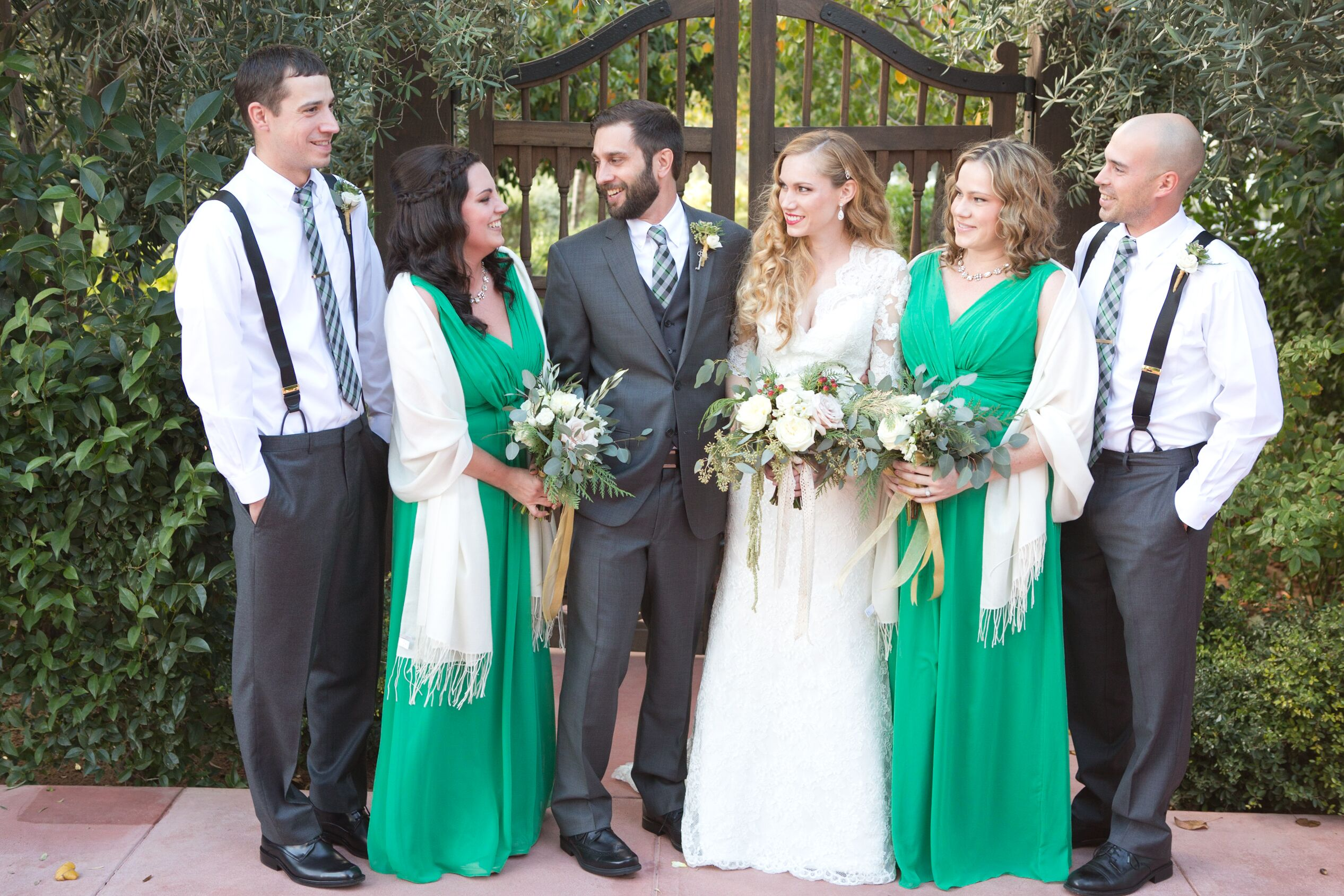 emerald green and white wedding party