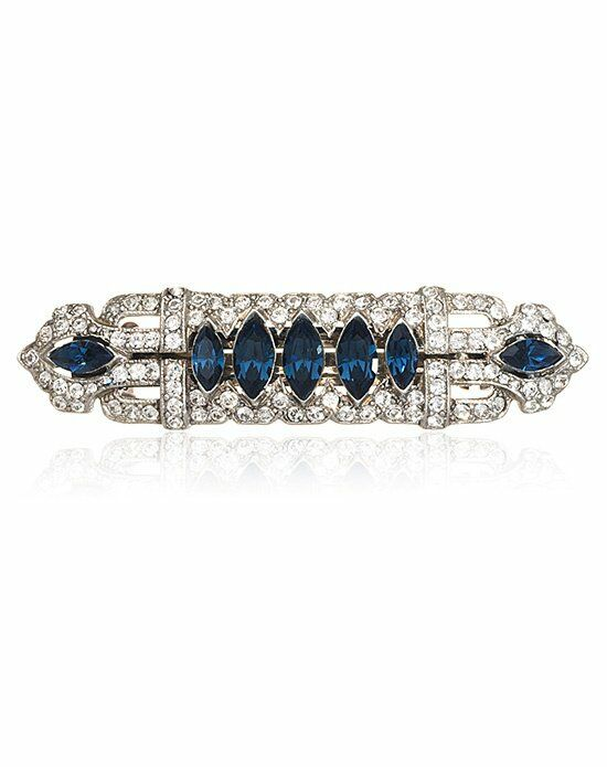 Thomas Laine Bridal Crystal Sapphire Hair Barrette Wedding Accessory photo