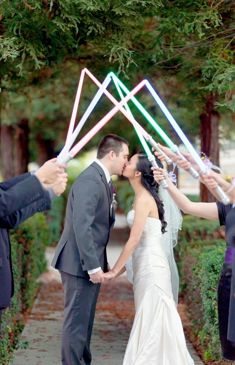 Star Wars Themed Wedding Exit With Light Sabers