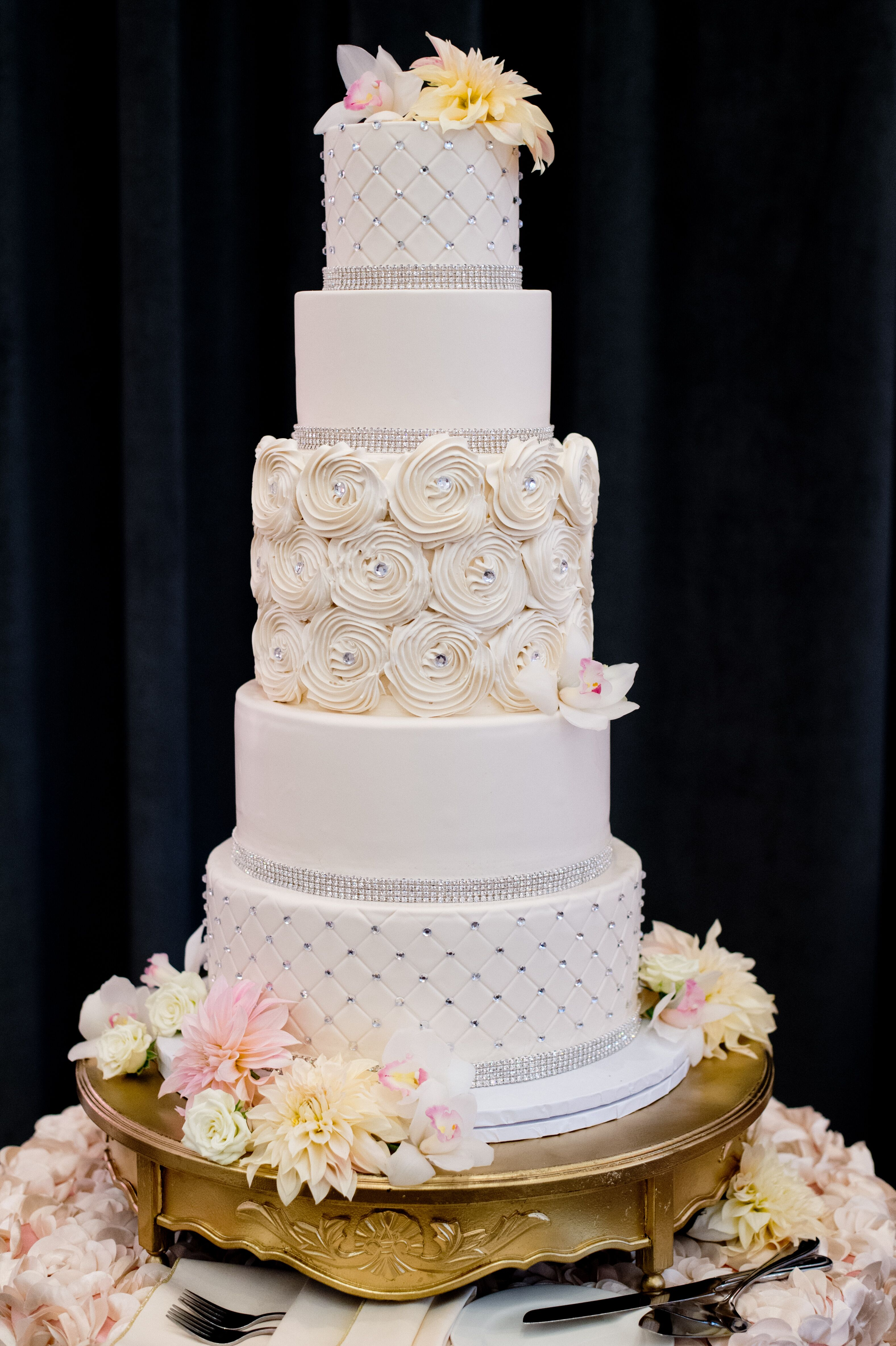 Five Tier Wedding Cake With Iced Rose Detailing