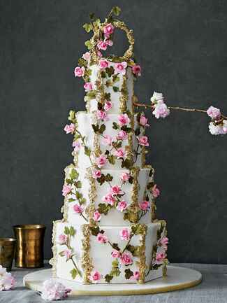 Maggie Austin Cake pearls wedding cake