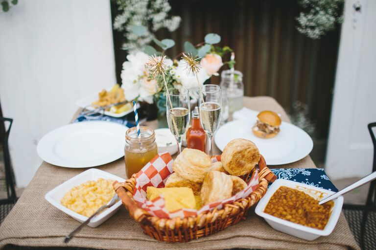 Wedding receptions with comfort food appetizers
