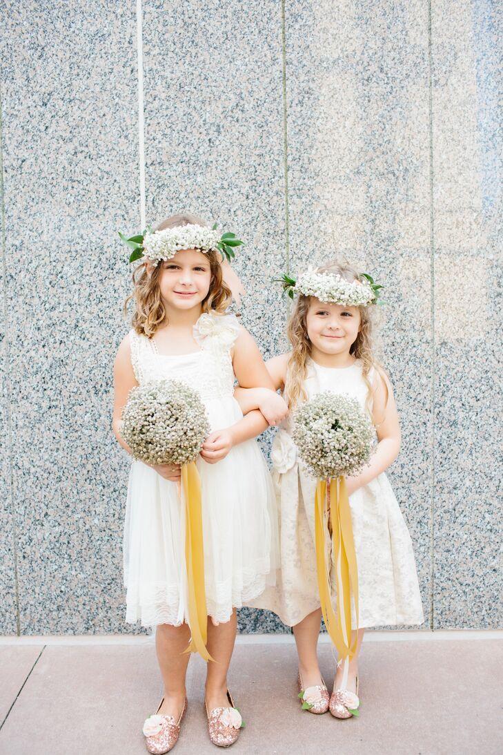 Gold ribbon tied babys breath flower girl bouquets izmirmasajfo