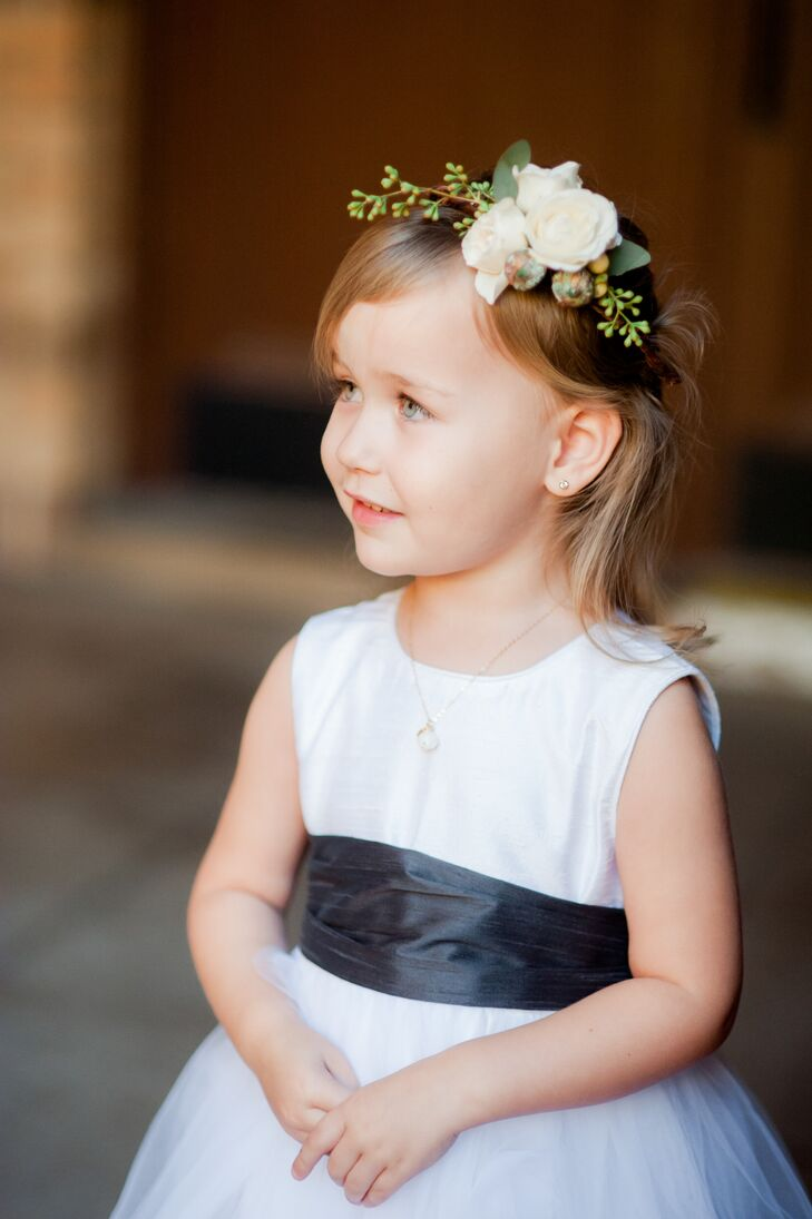 White Flower Girl Dress With Black Sash