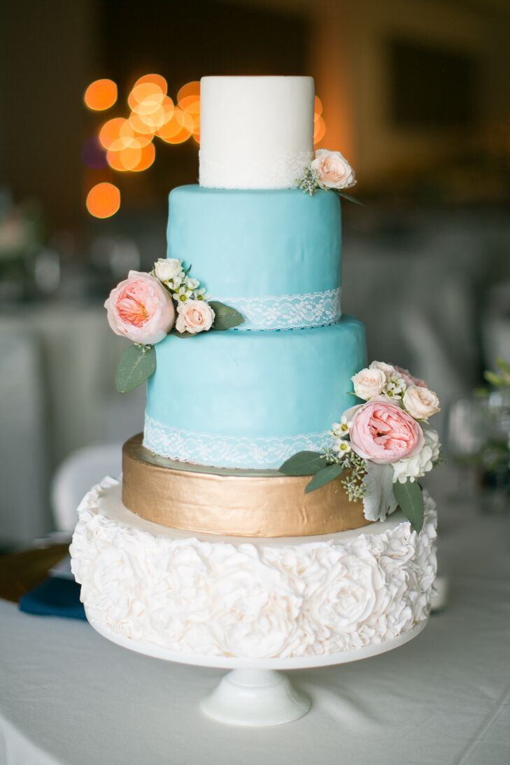 pink and gold wedding cake blue white gold cake with pink roses 18539