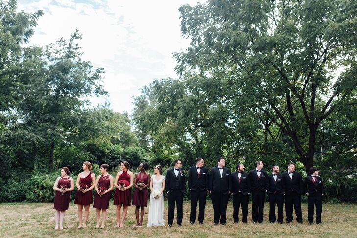 Semiformal Burgundy and Black Wedding Party