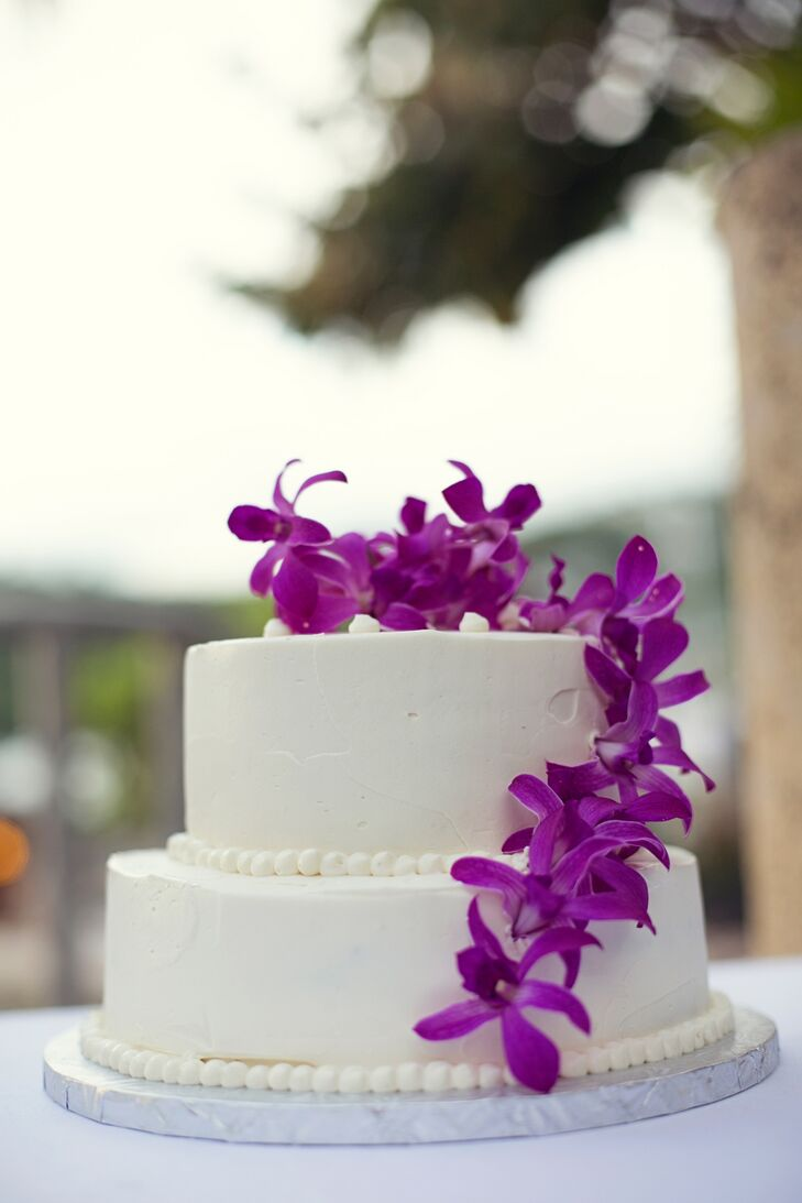 Two Tier Wedding Cake With Purple Orchids