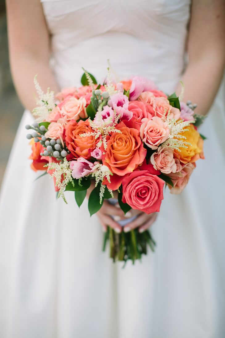 Coral Bouquet With Roses And Hypericum Berries