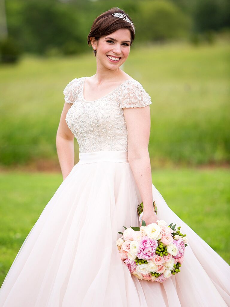 Champagne Colored Wedding Gown By Allure Bridals With Embroidered Bodice And Sleeves