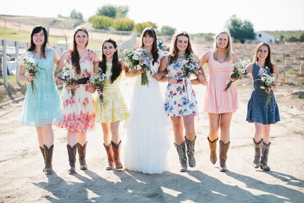 Bridesmaids in Sundresses and Cowboy Boots