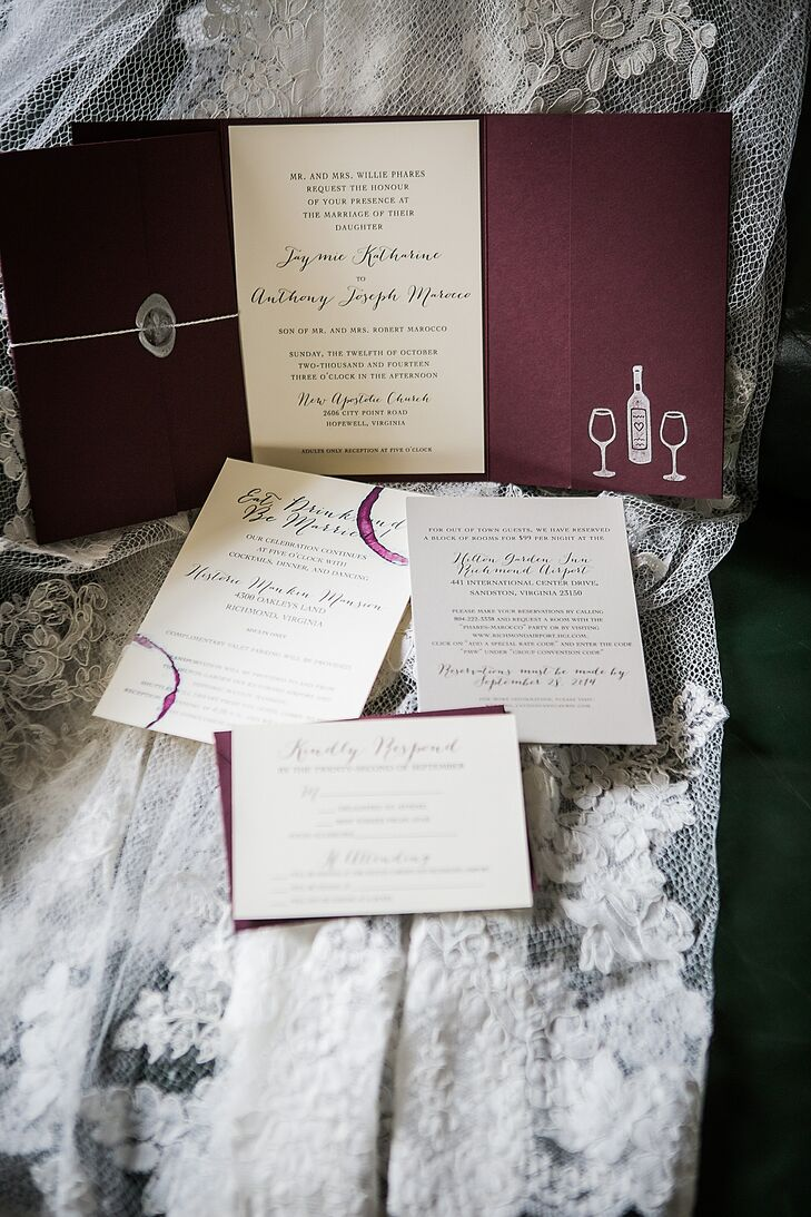 Wine-Themed Wedding Invites